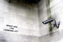 """What are you looking at"" by Banksy"