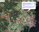 FarmSubsidy plotted information on farm subsidy funds from the Swedish government on Google Maps