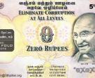 A zero rupee note created by 5th Pilar as a visual aid to fight corruption
